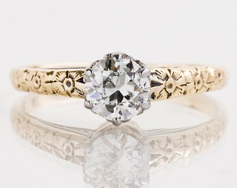 Antique Engagement Ring - Antique 1920's 14k Yellow & White Gold Solitaire Diamond Engagement Ring