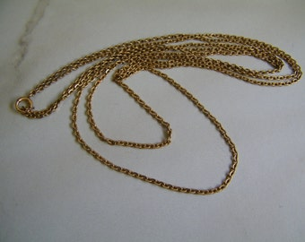 Antique Yellow Gold Filled 56 Inches Pocket watch Chain Necklace