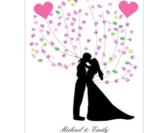Kissing Wedding Couple Silhouette - Wedding Guest Book - Fingerprint Guest Book - Free Gift with Purchase