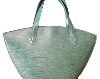 Vintage Louis Vuitton green epi tote bag in V shaped triangle.  Perfect vintage LV purse for daily use. Spring