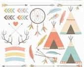 ON SALE - Tribal / American Indian / Hipster Clip Art / Digital Clipart - Instant Download