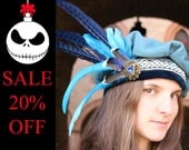 READY TO SHIP - hat renaissance beret floppy muffin fantasy merchant ren faire turquoise blue gold feather shakespeare