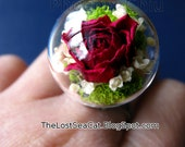 Birthday ring Rose flower ring Real rose ring Real flower ring Romantic Vintage Cottage chic ring Terrarium ring June Moss jewelry
