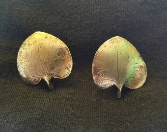 Vintage 70s Sterling Silver Novelty Leaf Sexy Disco Screw Post Earrings