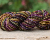 "Handspun Yarn Aran Weight BFL 3 Ply Chain Ply ""Fife""  165 yds. Striped"