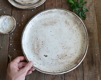 Ceramic Dinner Plate - Shino Plate - Pottery Plate - Rustic Dinner Plate