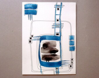 Black White And Blue ,Ink Drawing , Mixed Media Art  ,Art And Collectibles , Original Art