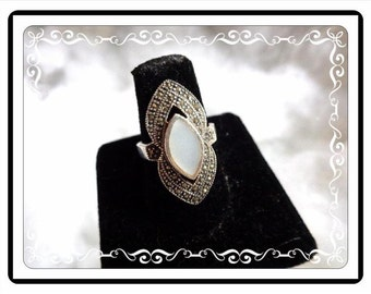 Sterling Silver & Marcasite Ring - Marquis Shaped Mother of Pearl (MOP) Center - Size 8 - Large Victorian Style Design - R1889a-111814010