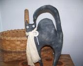 Primitive Black Scaredy Cat Shelf Sitter/Cupboard Doll Rustic Fall Decor