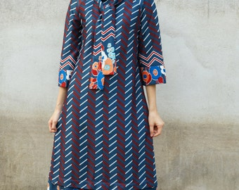 Vintage 1970s Dress, Vintage Dress, Vintage 1970s Dress, Vintage Womens Dress, Vintage Chevron Dress, Retro Dress, Maxi Dress