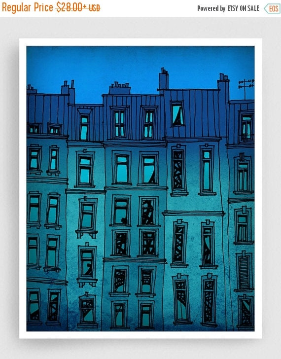 20% OFF SALE: Paris facade  - Paris illustration Fine art illustration Art Poster Paris art Paris decor Travel poster Wall art Cityscape Tur