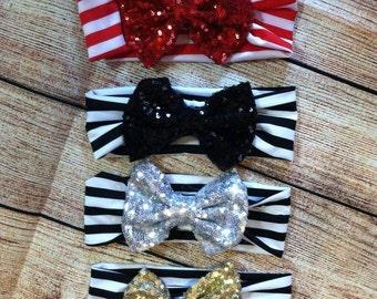 Striped Headband Bow Headwrap Sequin Bow