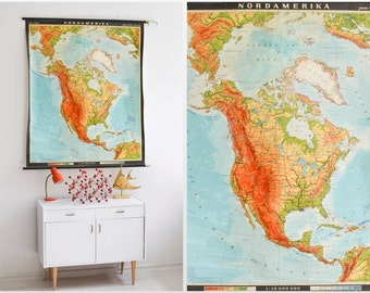 USA map, America school chart, vintage pull down chart, USA poster, school map 371