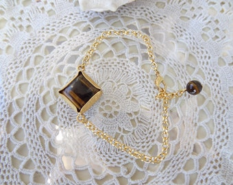 Tiger Eye Bracelet, Yellow Brown Stone Bracelet, Adjustable Gold Bracelet, Charm Bracelet, Elegance,Feminine Bracelet, Mother's Day Gift