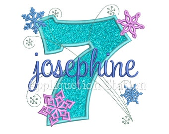 Snowflakes Number Seven 7th Birthday Applique Machine Embroidery Design seventh winter frozen INSTANT DOWNLOAD