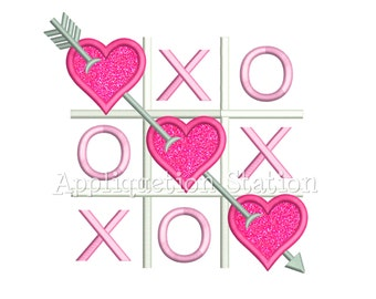 Valentine Tic Tac Toe Applique Machine Embroidery Design heart love INSTANT DOWNLOAD