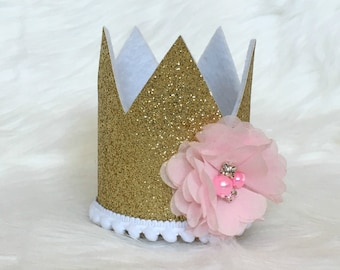 Pink and Gold Glitter Crown - Cake smash - Flower Birthday Crown - Gold glitter crown headband - Princess Outfit - First Birthday Outfit