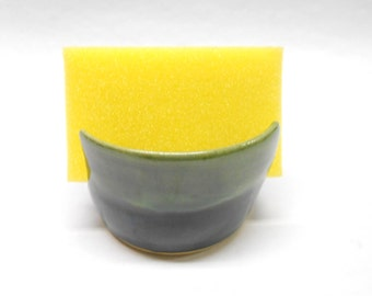 Pottery Sponge Holder Ceramic Sponge Rest Sink Organizer Pottery Sponge Caddie Ceramic Sponge Holder Wedding Gift in Green with Blue