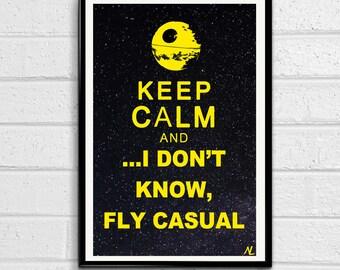 Star Wars Keep Calm illustration of Empire Death Star, Sci-fi Film, Movie Pop art, Home Decor, Geeky Poster, Nerdy Print Canvas
