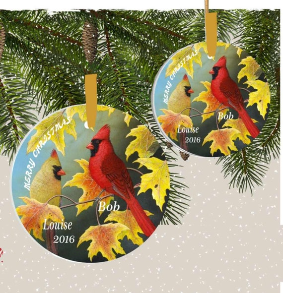 ornament #28 greetings from cardinal couple, gift, family ornament, 1st christmas ornament, personalized ornament, custom ornament