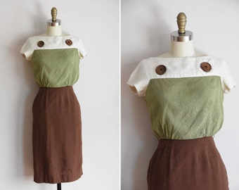 50s Downtown Brown dress / vintage 1950s linen daydress/ Carol & Mary color block daydress