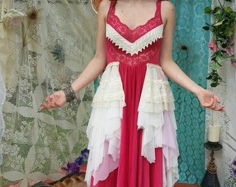 Sold! Awesome one of a kind upcycled vintage and antique boho festival Burningman dress.