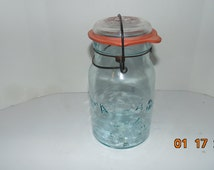 Vintage 1902~1964 ATLAS E~Z SEAL Quart Blue Canning Jar ~ Wire Bail & Glass Lid