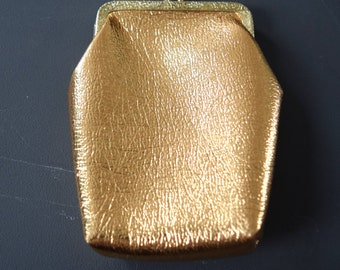 Vintage Gold metallic coin purse, crackle Gold exterior color, gold hardware