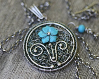 Rustic Sterling Silver * Immaculate* Intrincate Wire Wrapped Turquoise Flower Pendant Necklace-Embroidery Garden Handwoven Artisan Handmade