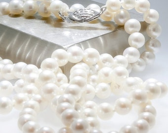 opera length white pearl necklace, classic pearls, bridal pearls, AAA white pearls, double length strand, 14kt white gold, June birthstone