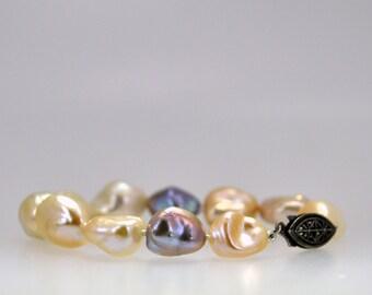 multi-colored pearl bracelet,natural keshi nuggets, Baroque pearl, bridal bracelet, statement bracelet, June birthstone, AAA natural pearls