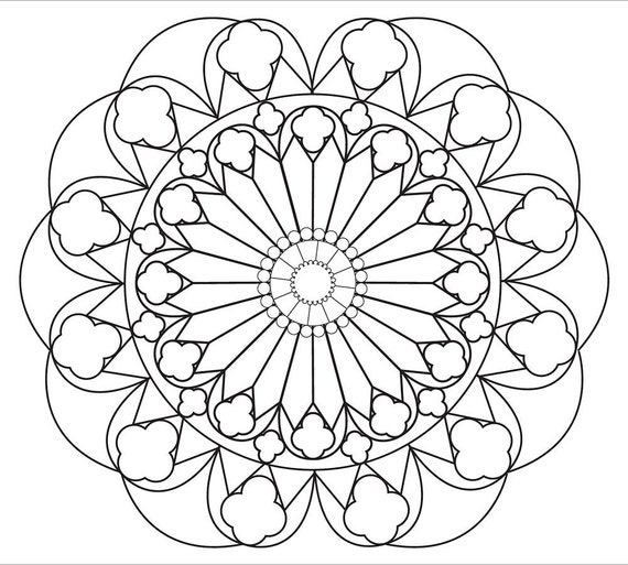 stress relief coloring pages online - relaxing mandala coloring page simple and large spaces for