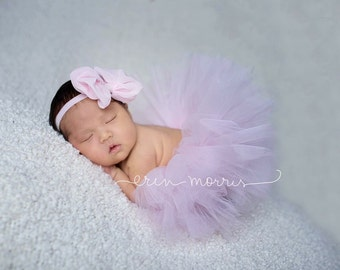 Pale pink tutu set, newborn tutu set, light pink tutu with chiffon bow headband, pink tutu set, pale pink bow headband