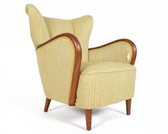 Danish Modern Wingback Club Chair in Green