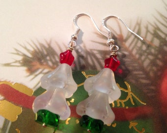 Bead Kits: Christmas Tree Swarovski STERLING SILVER Earring Kits, Make Your Own, DIY, Christmas Tree, Holiday Gifts