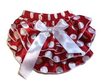 Red w White Polka Dots Diaper Cover, Baby Bloomers, Ruffle Diaper Cover, Girls Diaper Cover, Ruffle Baby Bloomers, Baby Shower Gift