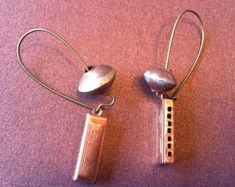 Harmonica Earrings, Vintage Copper Harmonica Charm