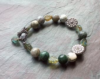 "Green Jasper Bracelet / Silver Beads / Green Czech Glass / Leaf Beads / Stone Beads / Charm / Gunmetal Toggle - 7 3/4"" long - B36"