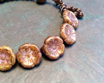 "Czech Glass Flower Bracelet / One-of-a-Kind / Mocha / Bead / Antique Copper / Antique Copper Charms / Fluted Bead - 7 1/2"" long - B73"