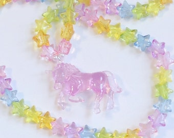 Pink Unicorn Necklace with Pastel Rainbow Translucent Stars