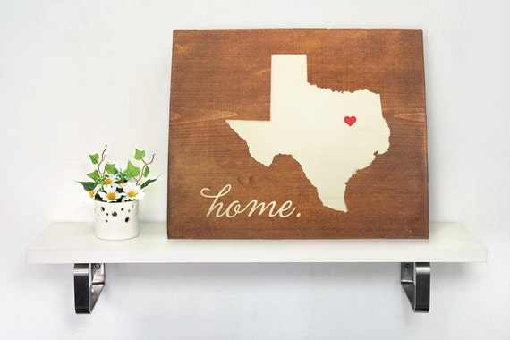 Texas State Wood Art Rustic Personalized Home Decor By