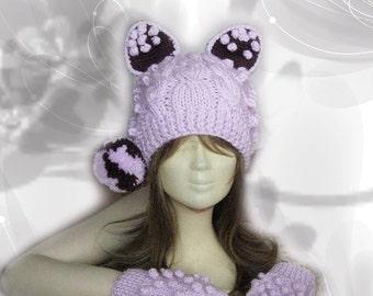 Animal Hat,Hand Knit Hat,pom pom hat,Animal Ear Beanie,knit hat,Hat and gloves,Knit Gloves,Fingerless gloves