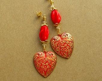 Red Heart Earrings - Handmade Earrings - Red and Gold Earrings - Gift for Her - Red Earrings - Post Earrings