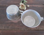 vintage french metal cups gray distressed french mugs industrial decor made in france by herminas cottage