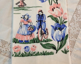 sweet vintage linen hand towel vintage tulip dutch pink and blue cottage linen towel holland linen towel by herminas cottage