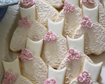 Bridesmaid Dress Cookies- 1 Dozen Cookie Favors, Wedding Cookies,  Bridal Shower Cookies, Wedding Dress Cookies
