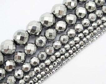 Metallic Silver Hematite Gemstone Faceted Round Beads 15.5'' 2mm 3mm 4mm 6mm 8mm 10mm Jewelry Design