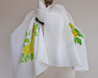 Vintage long silk scarf, yellow rose scarf, oblong silk scarf, vintage scarves. hand rolled,floral long scarf