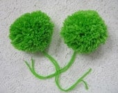 Handmade Yarn Pom Poms Neon Green Set of 2