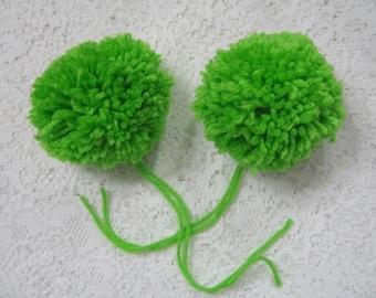 Handmade Yarn Pom Poms Neon Green Set of 2